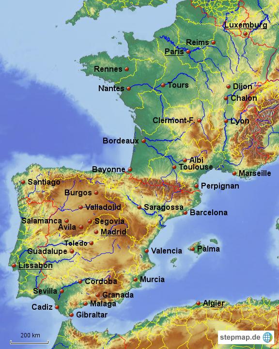 landkarte deutschland frankreich spanien StepMap   Frankreich Spanien   Landkarte für Deutschland