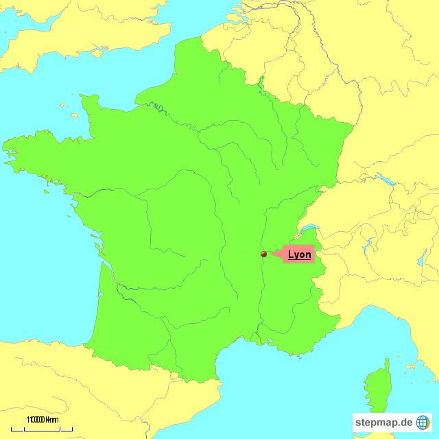Lyon Karte.Stepmap Frankreich Stadt Lyon Landkarte Fur Frankreich
