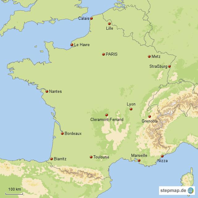 Frankreich Karte Stadte.Stepmap Frankreich Stadte Landkarte Fur Frankreich