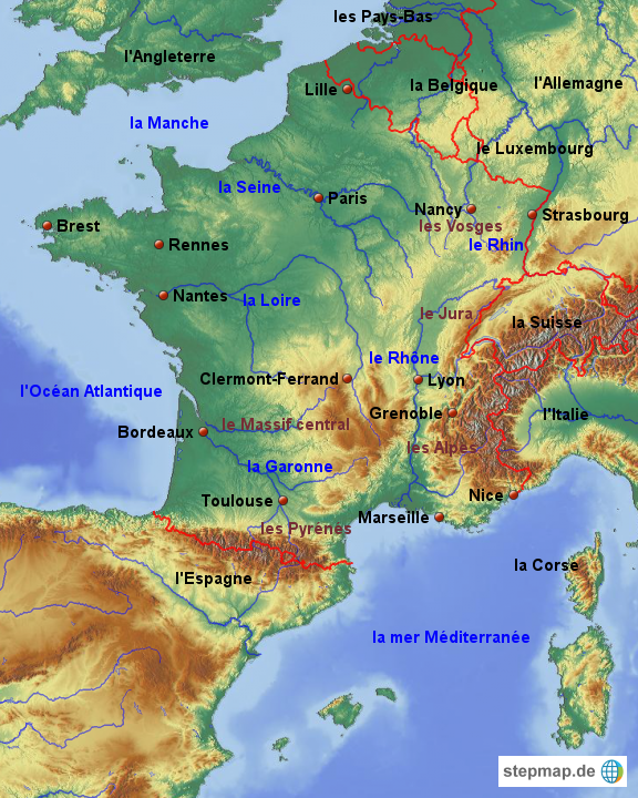 Frankreich Karte Stadte.Stepmap Frankreich Stadte Lander Gewasser Gebirge