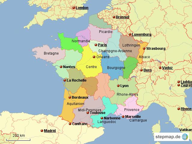 Frankreich Karte Regionen.Stepmap Frankreich Mit Regionen Landkarte Für Frankreich