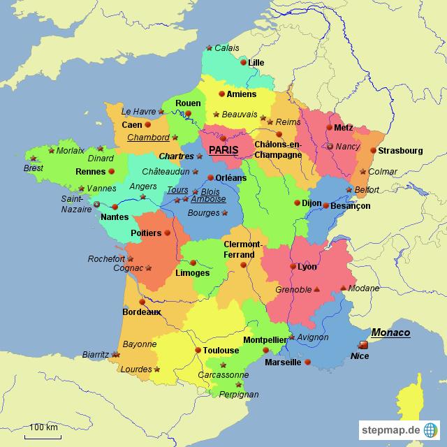 Frankreich Departements Karte.Stepmap Frankreich Politisch Départements Und Sehenswürdigkeiten