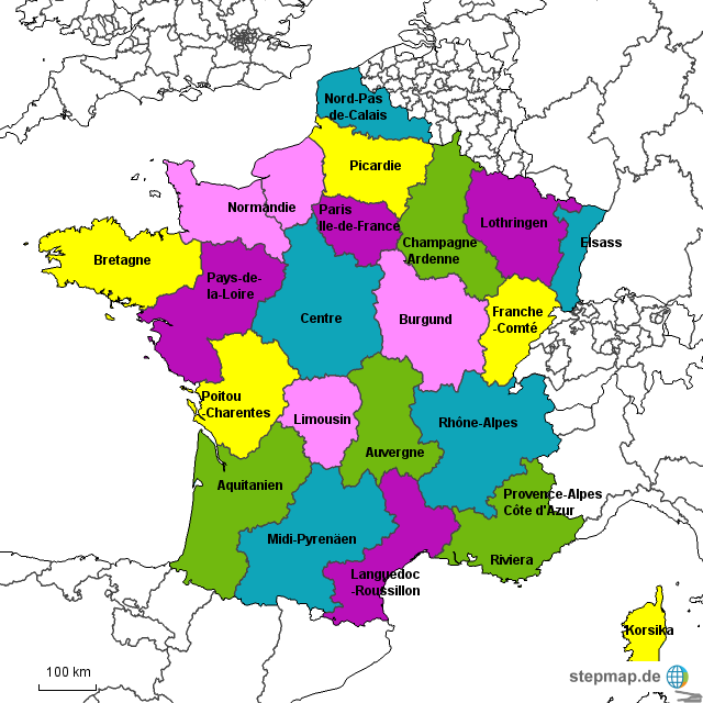 Frankreich Karte Regionen.Stepmap Frankreich Touristische Regionen Landkarte Für Deutschland