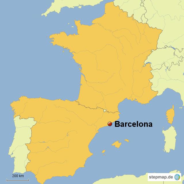 barcelona karte StepMap   Frankreich und Spanien Karte, Barcelona   Landkarte für