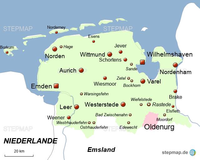 friesland karte deutschland StepMap   Friesland Oldenburg   Landkarte für Deutschland