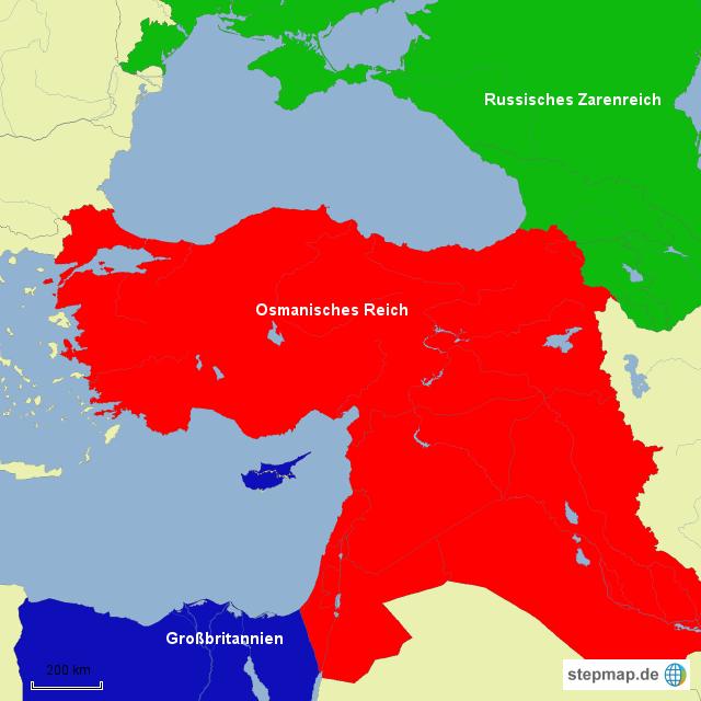 Osmanisches Reich Karte 1914.Stepmap Front Osmanisches Reich Erster Weltkrieg Landkarte Für