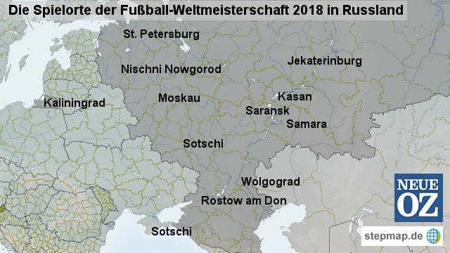 Wm 2018 Spielorte Karte.Stepmap Fussball Wm 2018 Russland Landkarte Für Deutschland