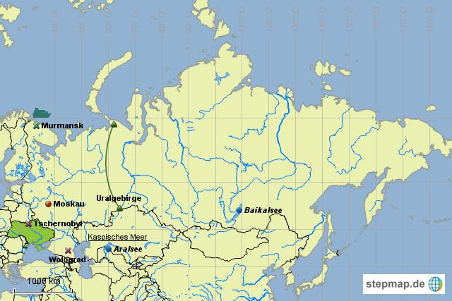 Uralgebirge Karte.Stepmap Gus Staaten Landkarte Fur Asien