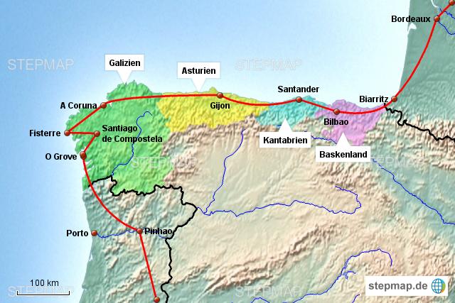 Galizien Karte.Stepmap Galizien Landkarte Für Spanien