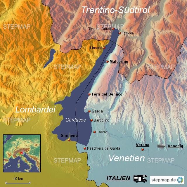 Karte Italien Gardasee.Stepmap Gardasee Landkarte Für Italien