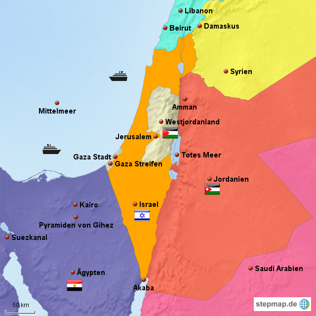 StepMap - Gazastreifen - Landkarte für Jordanien