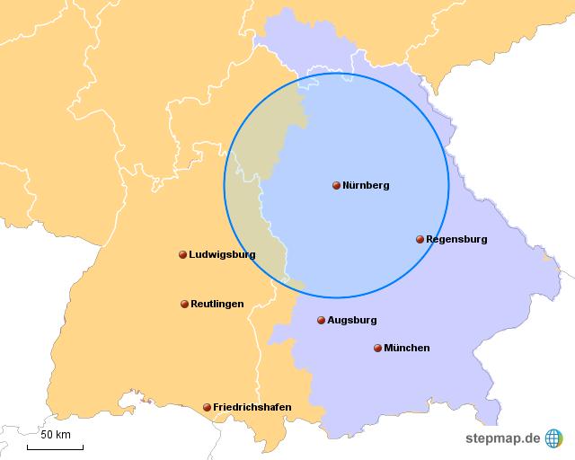 Nürnberg Karte Deutschland.Stepmap Gebiet Nürnberg 100km Landkarte Für Deutschland