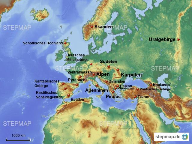 stepmap gebirge europa landkarte f r europa. Black Bedroom Furniture Sets. Home Design Ideas