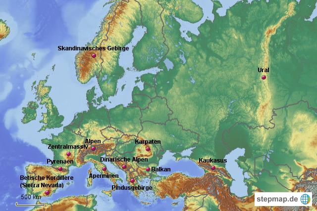 stepmap gebirge europas landkarte f r europa. Black Bedroom Furniture Sets. Home Design Ideas
