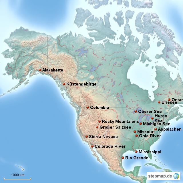 Lateinamerika Karte Gebirge.Stepmap Gebirge Flüsse Usa Landkarte Für Nordamerika