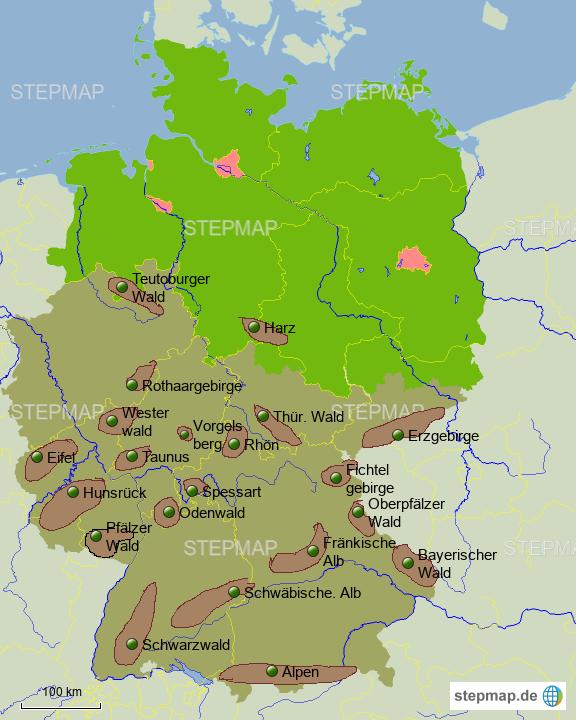 deutschland karte gebirge StepMap   Gebirge ohne Relif   Landkarte für Deutschland