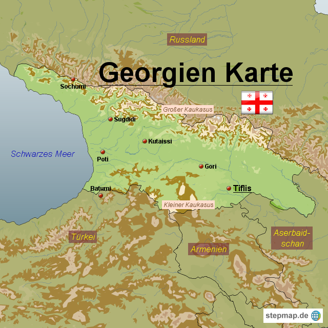 Georgien Karte.Stepmap Georgien Karte Landkarte Für Georgien