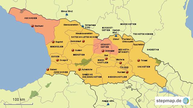Georgien Karte Regionen.Stepmap Georgien Regionen Landkarte Für Georgien