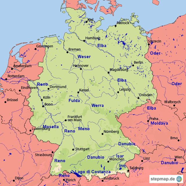 Cartina Germania Fiumi.Stepmap Germania Con Fiumi Landkarte Fur Deutschland