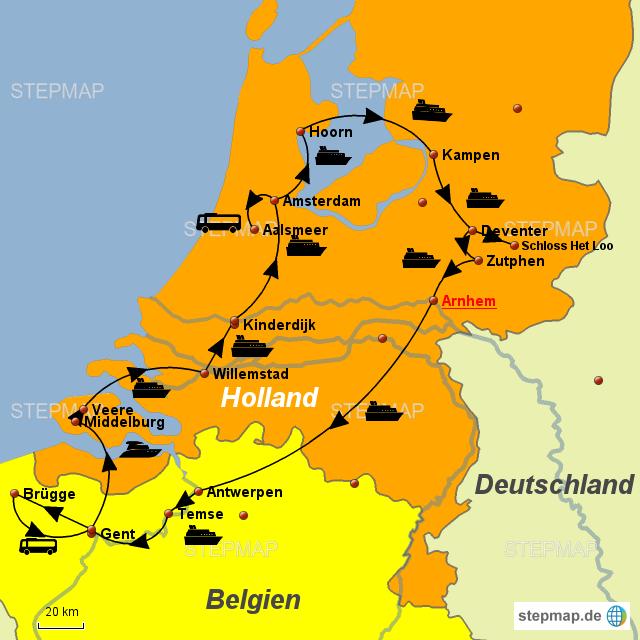 Karte Von Holland Und Belgien.Stepmap Glanzlichter Holland Belgien Landkarte Fur Europa