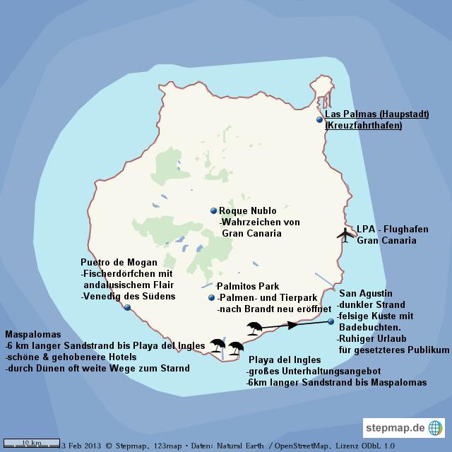 Gran Canaria Karte Flughafen.Stepmap Gran Canaria Landkarte Für Welt