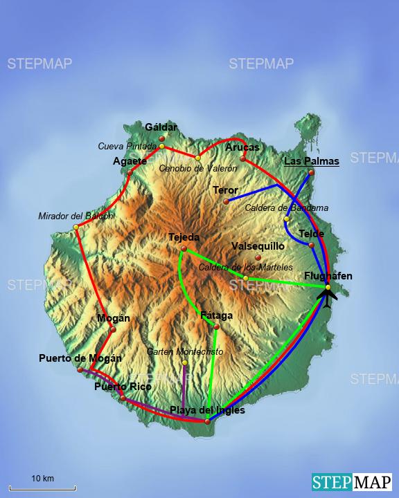 Gran Canaria Karte Flughafen.Stepmap Gran Canaria Landkarte Für Spanien