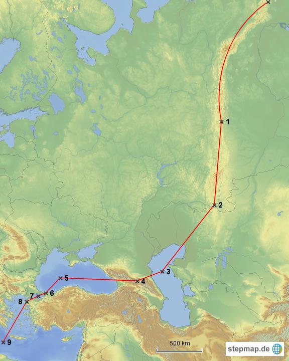 Weltkarte Grenze Europa Asien
