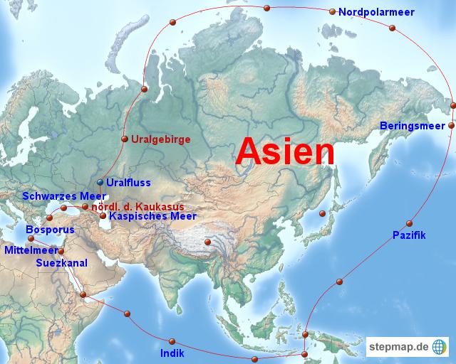 StepMap - Grenzen Asiens - Landkarte für Asien
