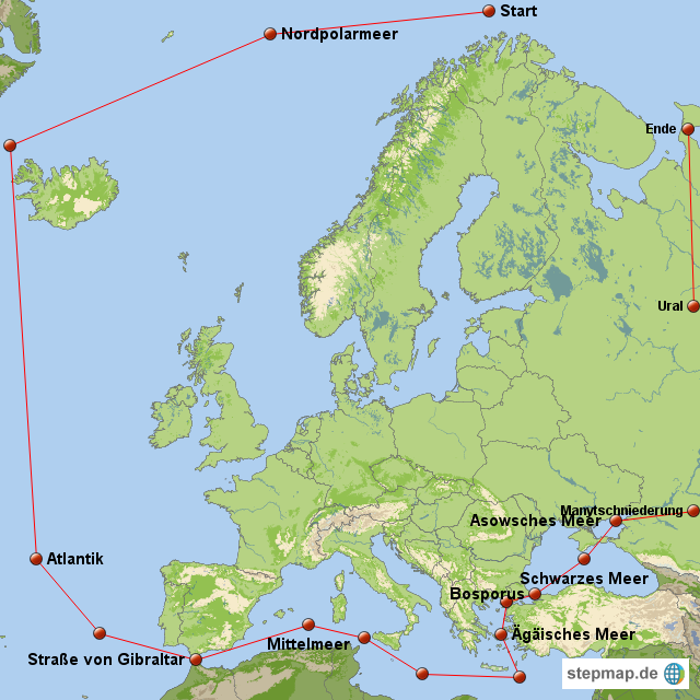 Uralgebirge Karte.Stepmap Grenzen Europa Landkarte Fur Europa