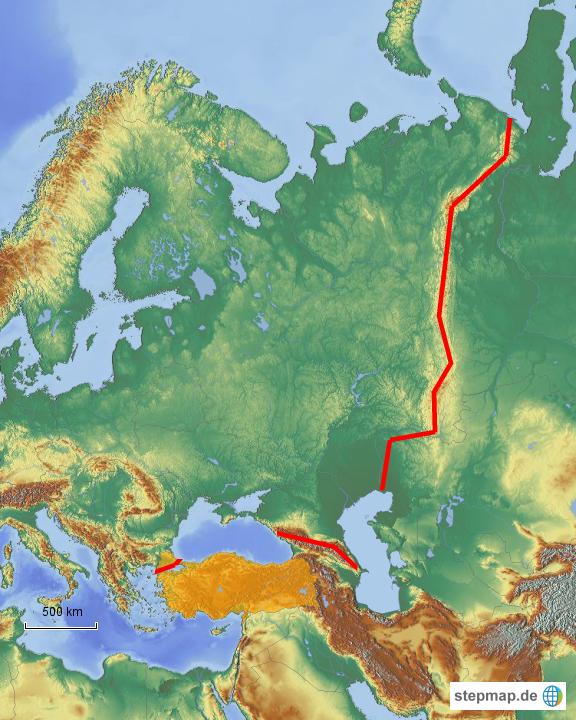 Uralgebirge Karte.Stepmap Grenzen Europas Landkarte Für Deutschland