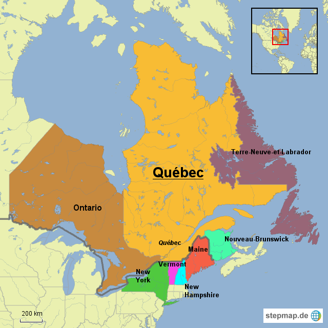 Quebec Karte.Stepmap Grenzstaaten Québec Landkarte Für Nordamerika