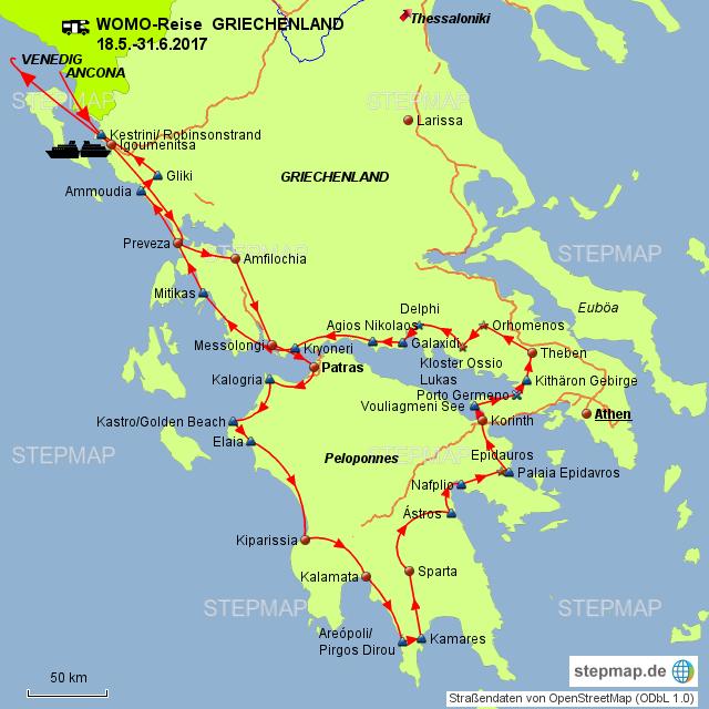 Griechenland Peloponnes Karte Deutsch.Stepmap Griechenland Festland West Und Südküste Peloponnes