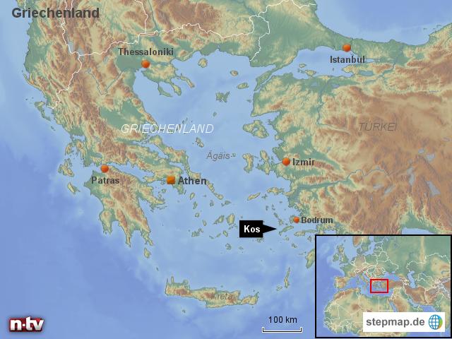 kos karte StepMap   Griechenland: Lage der Insel Kos   Landkarte für