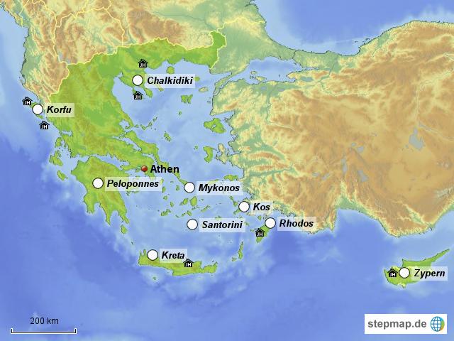 griechenland zypern karte StepMap   Griechenland Zypern Ferienhaus   Landkarte für Deutschland