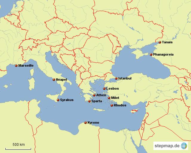stepmap griechische polis und kolonien landkarte f r europa. Black Bedroom Furniture Sets. Home Design Ideas