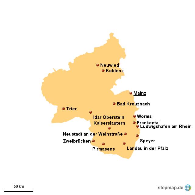 stepmap gr te st dte rheinland pfalz landkarte f r deutschland. Black Bedroom Furniture Sets. Home Design Ideas