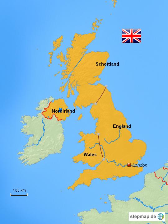 Großbritannien Karte Umriss.Stepmap Großbritannien Landkarte Für Deutschland