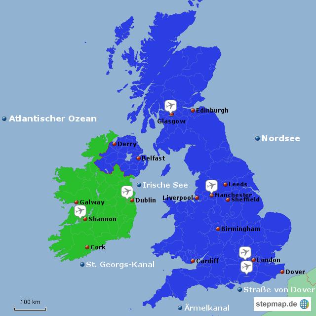 karte gb und irland StepMap   Großbritannien und Irland   Landkarte für Irland