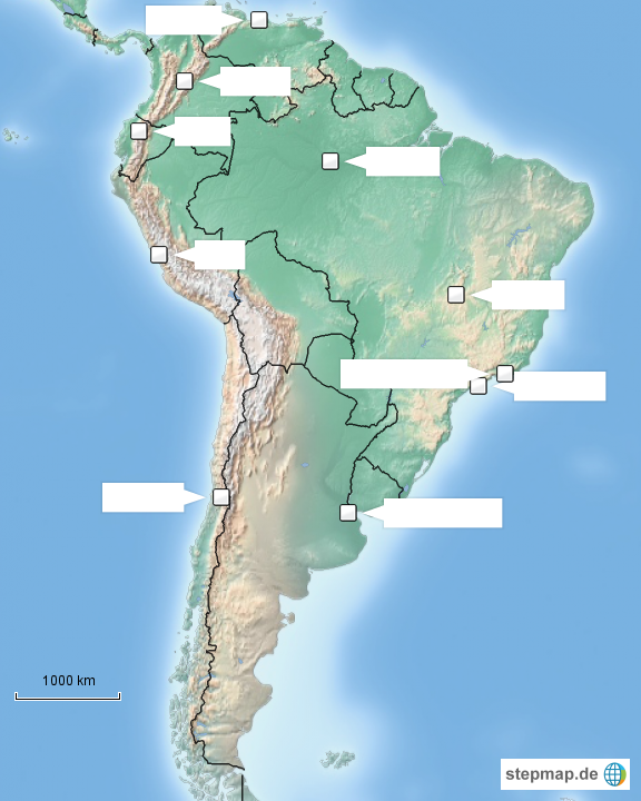 Stepmap Grossstadte Sudamerikas Ohne Beschriftung Landkarte Fur