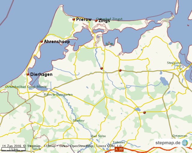 Fischland Darß Zingst Karte.Stepmap Halbinsel Fischland Darß Zingst Landkarte Für Welt