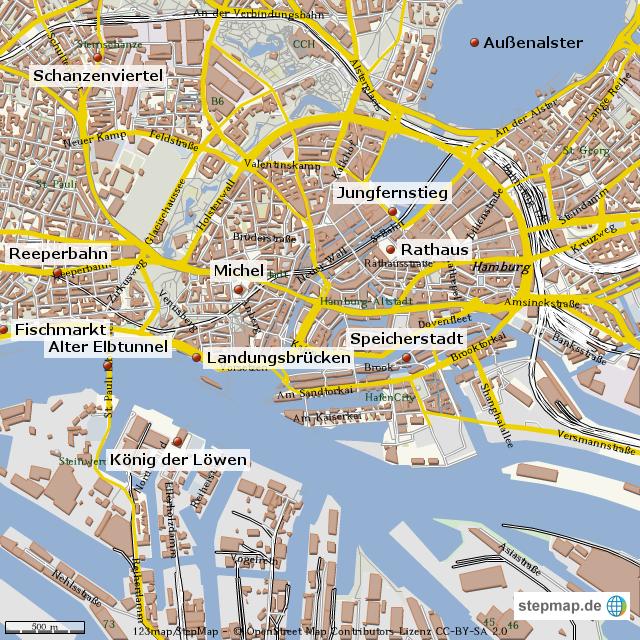 hamburg sehenswürdigkeiten karte StepMap   Hamburg Sehenswürdigkeiten   Landkarte für Deutschland hamburg sehenswürdigkeiten karte