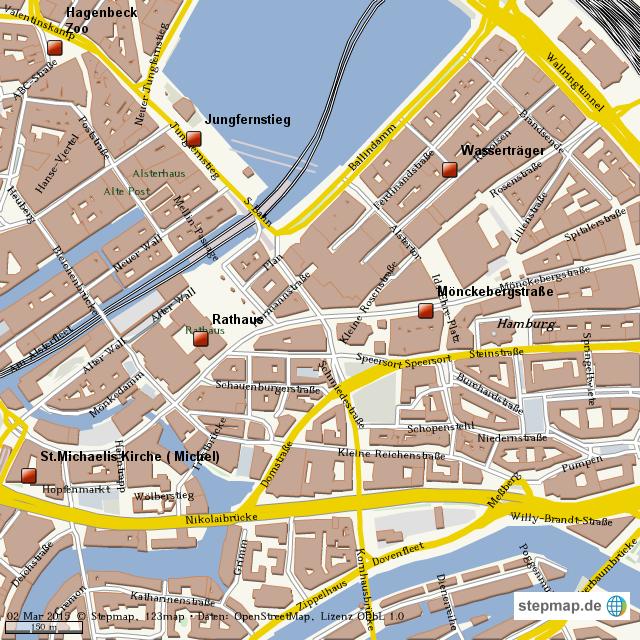 Hamburg Karte Sehenswurdigkeiten.Stepmap Hamburger Sehenswurdigkeiten Landkarte Fur Welt