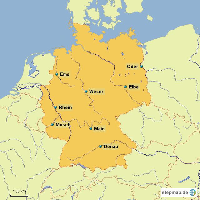hauptfl sse von deutschland von lindrak landkarte f r deutschland. Black Bedroom Furniture Sets. Home Design Ideas