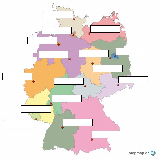 Bundesländer Hauptstädte Karte.Stepmap Hauptstädte Der Bundesländer Landkarte Für Deutschland