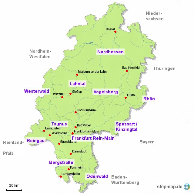landkarte von hessen StepMap   Hessen   Landkarte für Deutschland landkarte von hessen