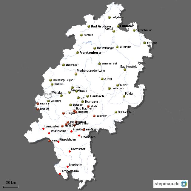 karte hessen StepMap   Hessen Karte   Landkarte für Deutschland karte hessen
