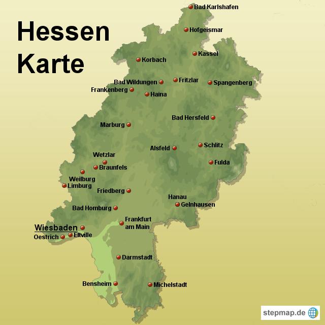 Bundesland Karte Mit Städten.Stepmap Hessen Karte Landkarte Für Deutschland