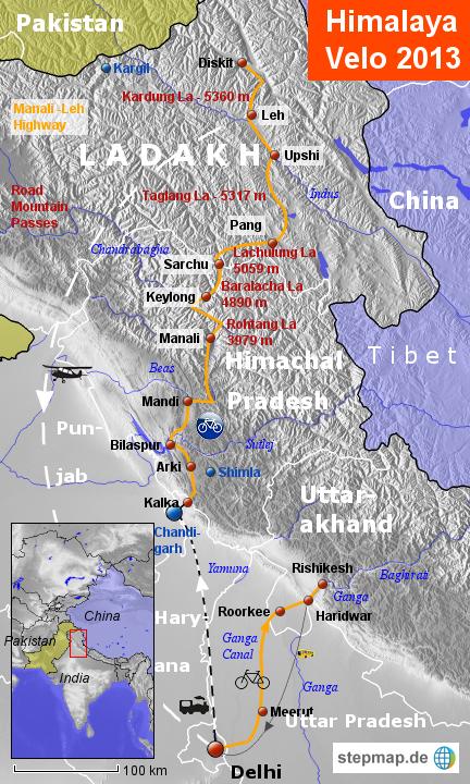 Himalaya Berge Karte.Stepmap Himalaya Velo 2013 Landkarte Fur Indien