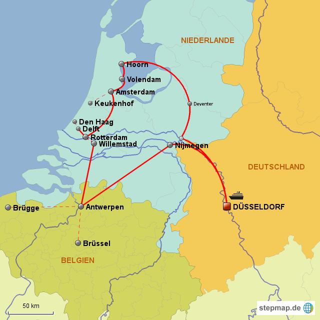 Karte Von Holland Landkarte Niederlande.Stepmap Holland Belgien Route Landkarte Für Niederlande