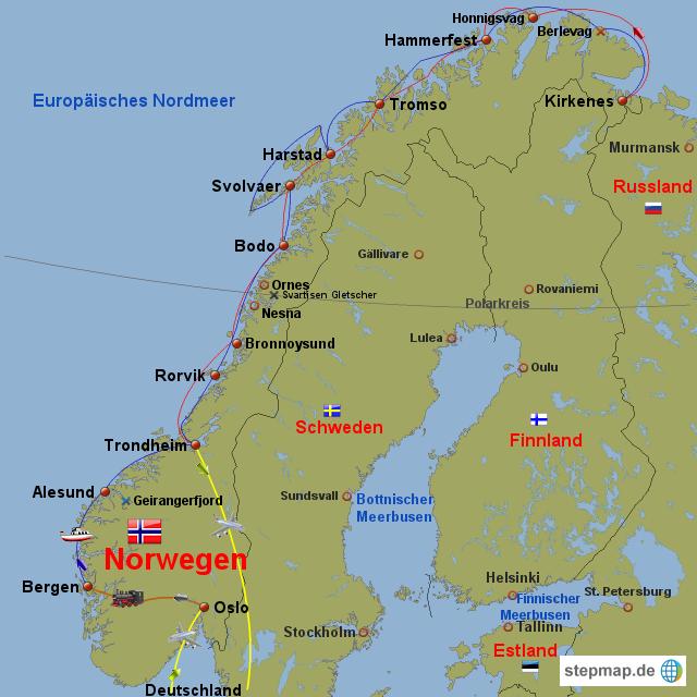 hurtigrute norwegen von gisbertziegler landkarte f r norwegen. Black Bedroom Furniture Sets. Home Design Ideas
